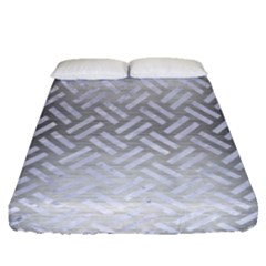 Woven2 White Marble & Silver Brushed Metal Fitted Sheet (queen Size) by trendistuff