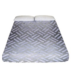 Woven2 White Marble & Silver Brushed Metal Fitted Sheet (california King Size) by trendistuff