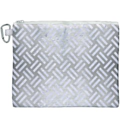 Woven2 White Marble & Silver Brushed Metal Canvas Cosmetic Bag (xxxl) by trendistuff