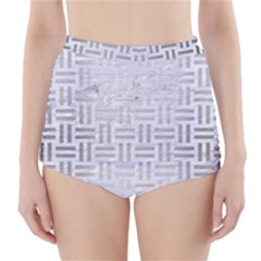 Woven1 White Marble & Silver Brushed Metal (r) High Waisted Bikini Bottoms