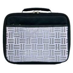 Woven1 White Marble & Silver Brushed Metal (r) Lunch Bag by trendistuff