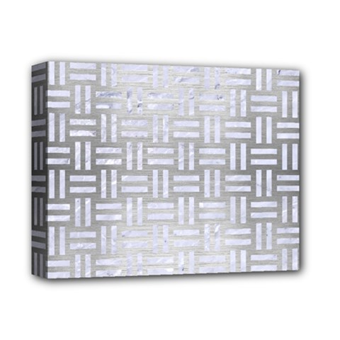 Woven1 White Marble & Silver Brushed Metal Deluxe Canvas 14  X 11  by trendistuff