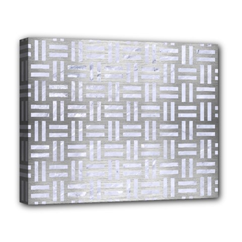 Woven1 White Marble & Silver Brushed Metal Deluxe Canvas 20  X 16   by trendistuff