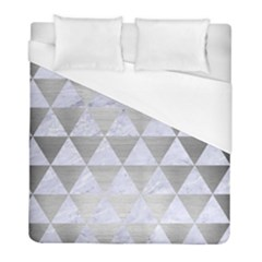 Triangle3 White Marble & Silver Brushed Metal Duvet Cover (full/ Double Size) by trendistuff