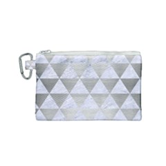 Triangle3 White Marble & Silver Brushed Metal Canvas Cosmetic Bag (small) by trendistuff
