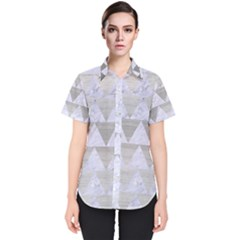 Triangle2 White Marble & Silver Brushed Metal Women s Short Sleeve Shirt
