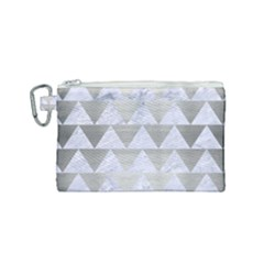 Triangle2 White Marble & Silver Brushed Metal Canvas Cosmetic Bag (small) by trendistuff