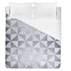 Triangle1 White Marble & Silver Brushed Metal Duvet Cover (queen Size) by trendistuff