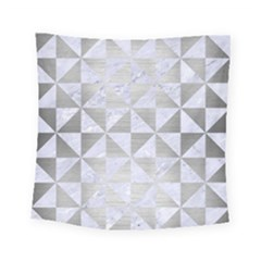 Triangle1 White Marble & Silver Brushed Metal Square Tapestry (small) by trendistuff