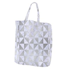 Triangle1 White Marble & Silver Brushed Metal Giant Grocery Zipper Tote by trendistuff