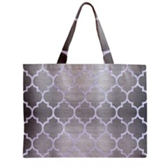Tile1 White Marble & Silver Brushed Metal Zipper Mini Tote Bag by trendistuff