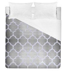 Tile1 White Marble & Silver Brushed Metal Duvet Cover (queen Size) by trendistuff