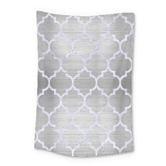 Tile1 White Marble & Silver Brushed Metal Small Tapestry