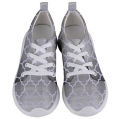 Tile1 White Marble & Silver Brushed Metal Women s Lightweight Sports Shoes