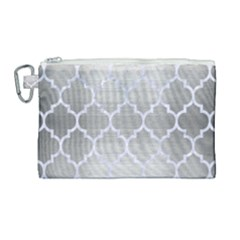Tile1 White Marble & Silver Brushed Metal Canvas Cosmetic Bag (large) by trendistuff