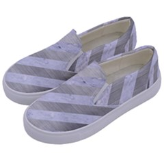 Stripes3 White Marble & Silver Brushed Metal (r) Kids  Canvas Slip Ons by trendistuff