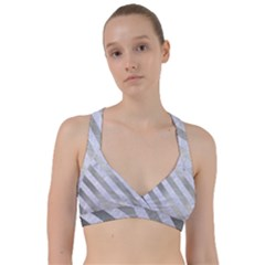 Stripes3 White Marble & Silver Brushed Metal Sweetheart Sports Bra