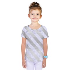 Stripes3 White Marble & Silver Brushed Metal Kids  One Piece Tee
