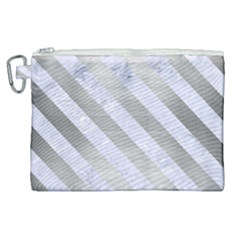 Stripes3 White Marble & Silver Brushed Metal Canvas Cosmetic Bag (xl) by trendistuff