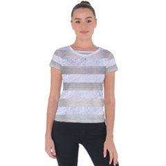 Stripes2white Marble & Silver Brushed Metal Short Sleeve Sports Top