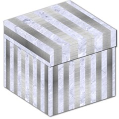 Stripes1 White Marble & Silver Brushed Metal Storage Stool 12   by trendistuff