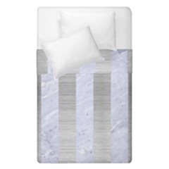 Stripes1 White Marble & Silver Brushed Metal Duvet Cover Double Side (single Size) by trendistuff