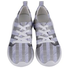 Stripes1 White Marble & Silver Brushed Metal Women s Lightweight Sports Shoes