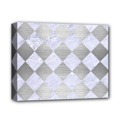 Square2 White Marble & Silver Brushed Metal Deluxe Canvas 14  X 11  by trendistuff