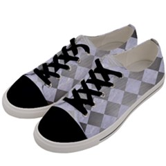Square2 White Marble & Silver Brushed Metal Men s Low Top Canvas Sneakers by trendistuff