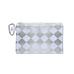Square2 White Marble & Silver Brushed Metal Canvas Cosmetic Bag (small) by trendistuff