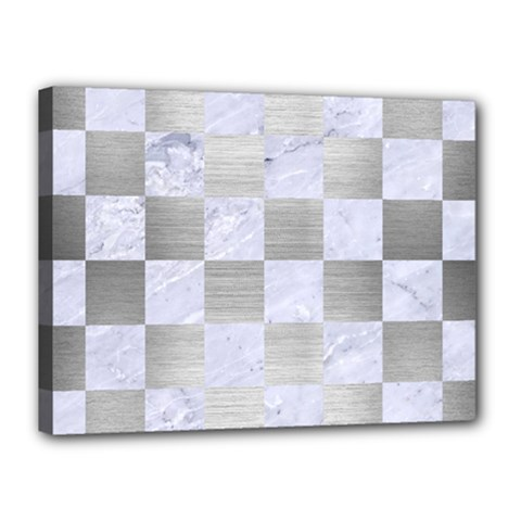 Square1 White Marble & Silver Brushed Metal Canvas 16  X 12  by trendistuff