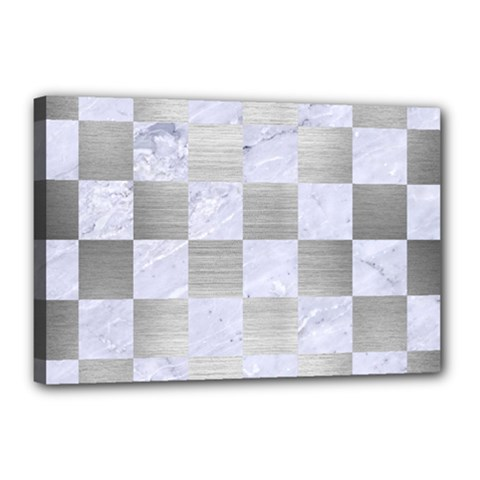 Square1 White Marble & Silver Brushed Metal Canvas 18  X 12  by trendistuff
