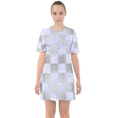 Square1 White Marble & Silver Brushed Metal Sixties Short Sleeve Mini Dress