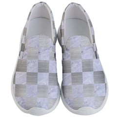 Square1 White Marble & Silver Brushed Metal Men s Lightweight Slip Ons