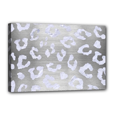 Skin5 White Marble & Silver Brushed Metal (r) Canvas 18  X 12  by trendistuff