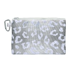 Skin5 White Marble & Silver Brushed Metal (r) Canvas Cosmetic Bag (large)