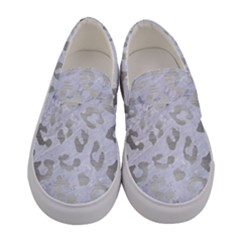 Skin5 White Marble & Silver Brushed Metal Women s Canvas Slip Ons