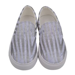 Skin4 White Marble & Silver Brushed Metal Women s Canvas Slip Ons