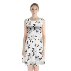 Birds Pattern Photo Collage Sleeveless Waist Tie Chiffon Dress by dflcprints