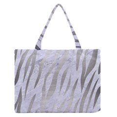 Skin3 White Marble & Silver Brushed Metal (r) Zipper Medium Tote Bag by trendistuff