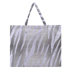 Skin3 White Marble & Silver Brushed Metal Zipper Large Tote Bag by trendistuff