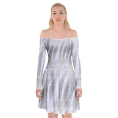 Skin3 White Marble & Silver Brushed Metal Off Shoulder Skater Dress