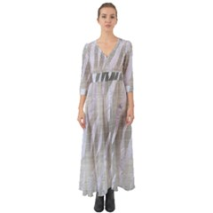 Skin3 White Marble & Silver Brushed Metal Button Up Boho Maxi Dress