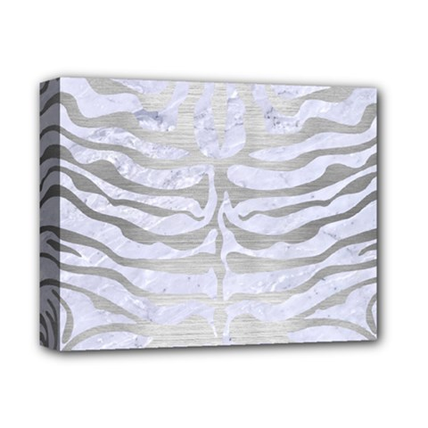 Skin2 White Marble & Silver Brushed Metal (r) Deluxe Canvas 14  X 11  by trendistuff