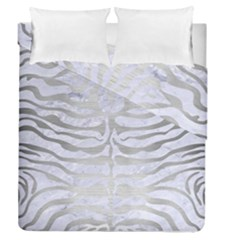 Skin2 White Marble & Silver Brushed Metal (r) Duvet Cover Double Side (queen Size) by trendistuff