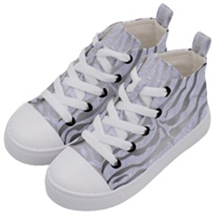 Skin2 White Marble & Silver Brushed Metal (r) Kid s Mid Top Canvas Sneakers by trendistuff