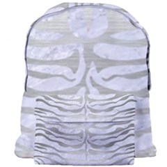 Skin2 White Marble & Silver Brushed Metal (r) Giant Full Print Backpack