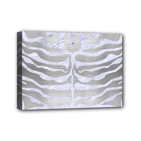 Skin2 White Marble & Silver Brushed Metal Mini Canvas 7  X 5  by trendistuff