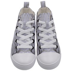 Skin2 White Marble & Silver Brushed Metal Kid s Mid Top Canvas Sneakers