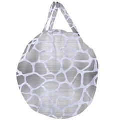 Skin1 White Marble & Silver Brushed Metal (r) Giant Round Zipper Tote by trendistuff